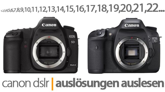 Auslösungen auslesen bei Canon DSLRs