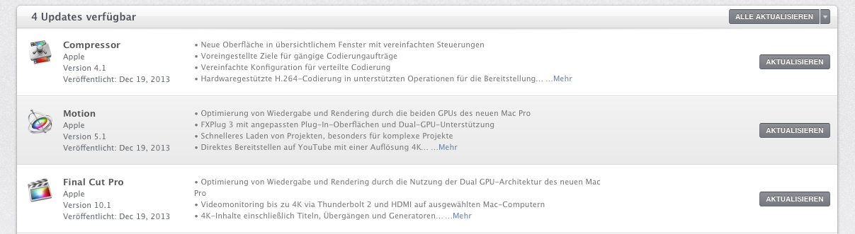 mac app store: übersicht der updates